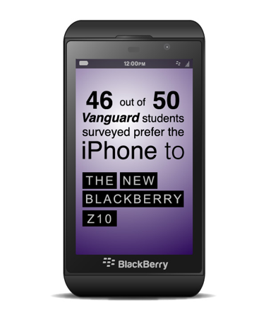 Blackberry owner attacks iPhone after releasing the new Z10 Blackberry.